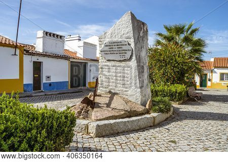 October 5, 2020 - Vila Fernando, Portugal: Small Monument With Plow Praising Local Farmers