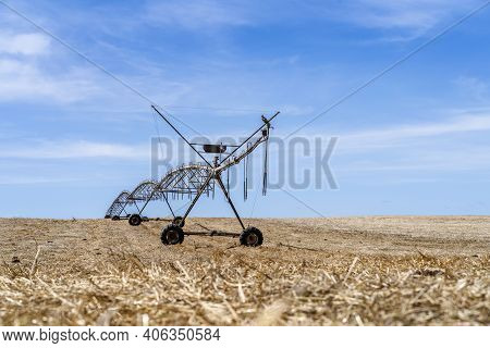 Irrigation System Standing On A Dry Field In Alentejo, Portugal
