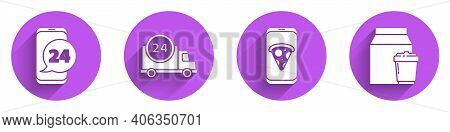 Set Food Ordering, Fast Delivery By Car, Food Ordering Pizza And Online Ordering And Delivery Icon W