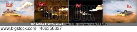 Tunisia Army Concept - 4 High Detail Pictures Of Heavy Tank With Fictional Design With Tunisia Flag,