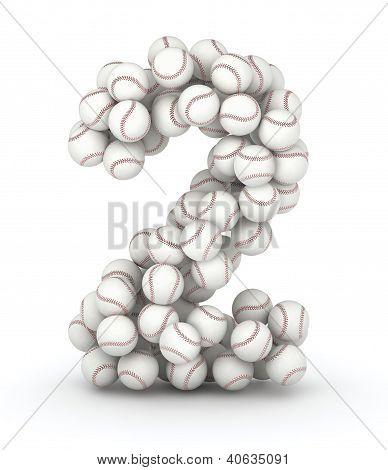 Number 2 font of baseball balls on white background poster