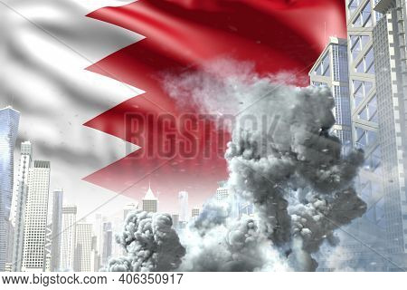 Huge Smoke Pillar In The Modern City - Concept Of Industrial Catastrophe Or Terroristic Act On Bahra
