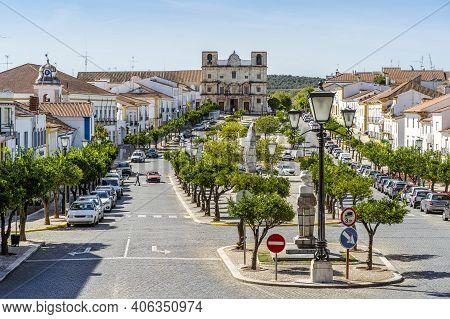 Main Square In City Center Of Historic Vila Vicosa, Alentejo, Portugal