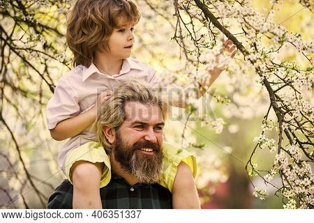 Fathers Day. Dad And Son. Best Dad Ever. Child Having Fun With Dad. Happy Family. Little Boy And Fat