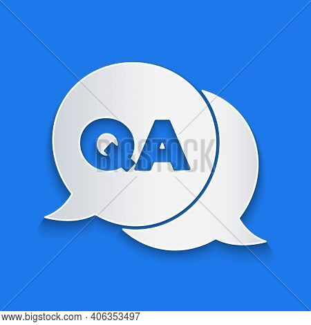 Paper Cut Speech Bubbles With Question And Answer Icon Isolated On Blue Background. Q And A Symbol.