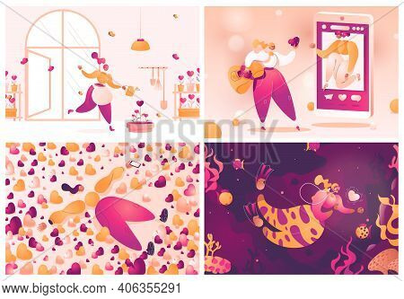 Collection Of Scenes Dedicated To Heart, Love And Social Acceptance And Woman Trying To Get Some Lik