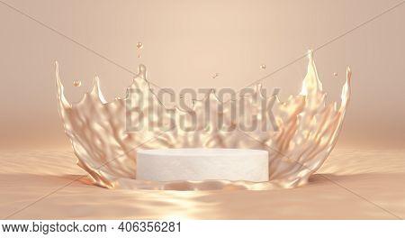 3d Beige Pedestal Podium With Liquid Splash Crown. 3d Rendering Cometic Product Mockup.