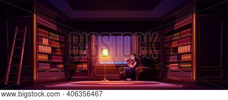 Girl Reads Book In Old Library At Night. Vector Cartoon Illustration Of Luxury Home Library Interior