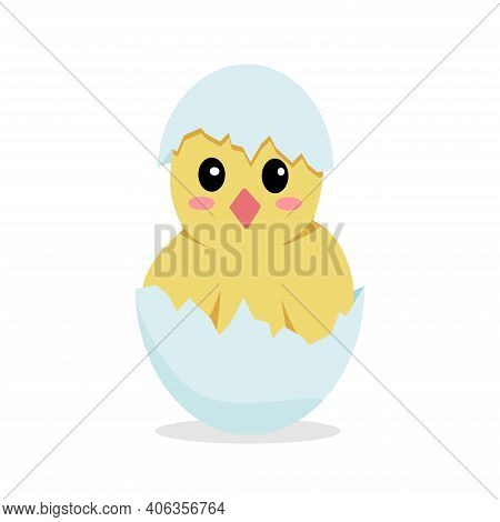 Cute Cartoon Chick Sitting In An Eggshell. Vector Illustration Isolated On White Background. Chicken