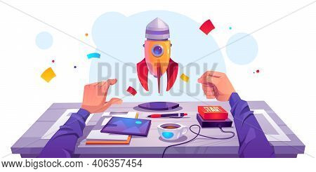Startup Success, Launch Business Project. Vector Cartoon Illustration With Workplace, Man Hand Push