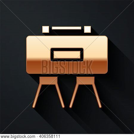 Gold Military Mine Icon Isolated On Black Background. Claymore Mine Explosive Device. Anti Personnel