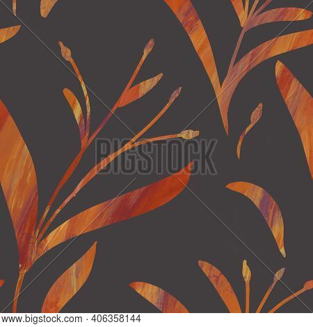 Seamless Pattern With Hand-drawn Shining Yellow Gradient Branches On Gray Background. Linen, Bedclot