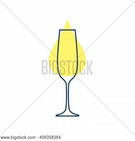 Modern Abstract Illustration With Glass Champagne With Yellow Blob. Linear Outline Sign. Logo Illust