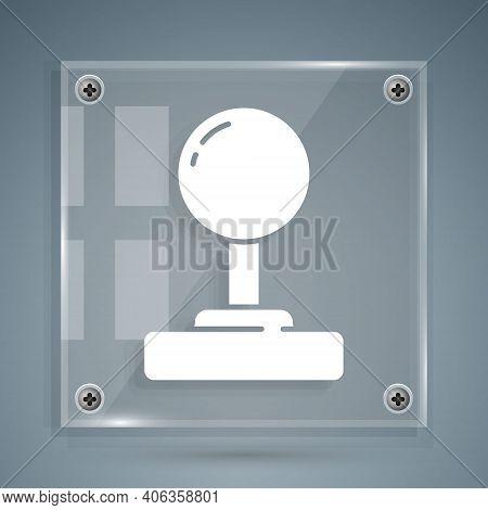White Joystick For Arcade Machine Icon Isolated On Grey Background. Joystick Gamepad. Square Glass P