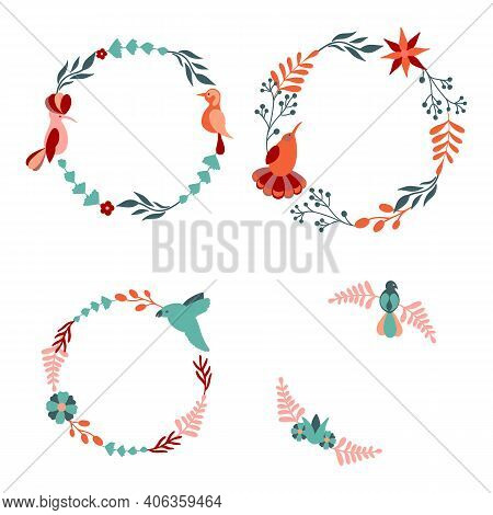 Set Of Stock Beautiful Floral Wreath With Bird. Vector Decorative Round Frames With Stylised Flowers