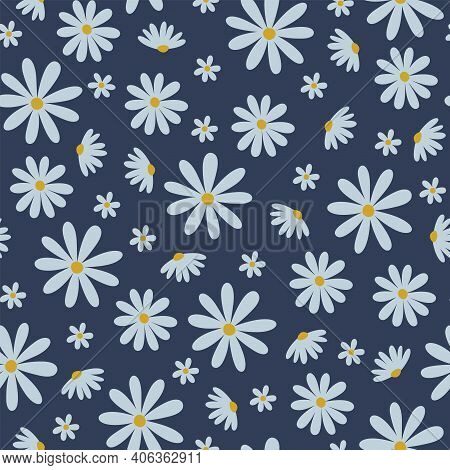 Seamless Vector Daisy Flowers Pattern For Fabric Wallpaper Or Scrapbook. Vector Abstract Floral Patt