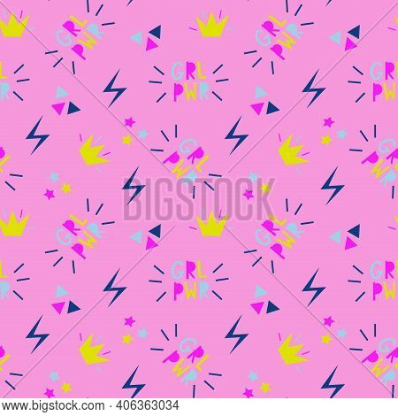 Seamless Vector Pink Pattern About Girl Power. Colorful Repeat Pattern About Feminism With Stars Tri