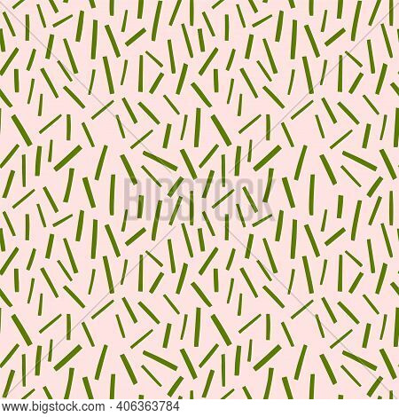 Abstract Vector Pattern With Strips. Chaotic Green Lines Background