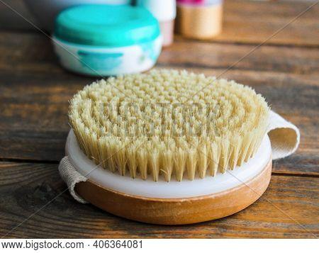 Massage Body Dry Brush & Cosmetic Cream For Skin Care Therapy & Scrub Peeling. Skincare Brush - Body