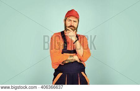 Skilled Architect Repair And Fix. Workman In Storeroom. Mad Repairman Concept. Man Wear Boilersuit.