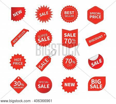 Set Of Sale Tags. Ribbon Sale Banners. Red Ribbon Price And Discount Labels. Red Starburst Stickers.
