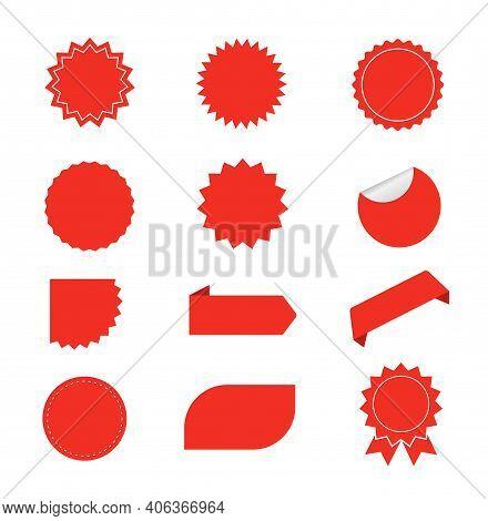 Set Of Red Starburst. Red Blank Promo Stickers. Sunburst Badges, Labels, Sale Tags. Design Elements.