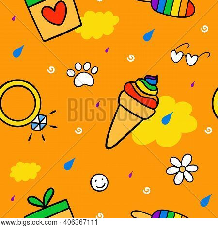 Never Ending Cute Doodle Pattern With Lgbt Rainbow, Hearts, Ice Cream, Ring, Glasses And Paws. Gay P