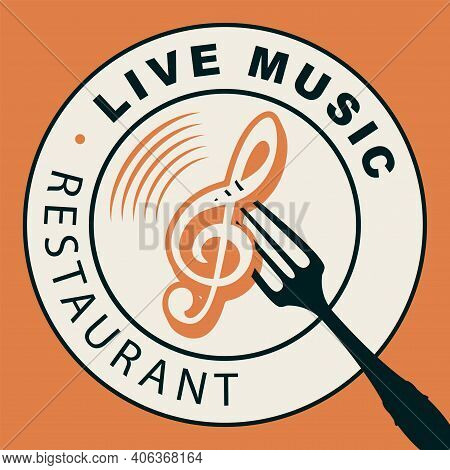 Vector Menu Or Banner For Restaurant With Live Music. Decorative Illustration With White Plate And T
