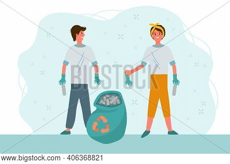 Eco-illustration People Clean Up Waste. A Man And A Girl Sort The Waste And Use An Eco-friendly Bag