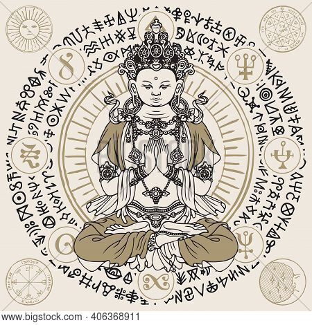 Banner With A Seated Buddha Meditating In The Lotus Pose. Vector Illustration Of A Hand-drawn Buddha