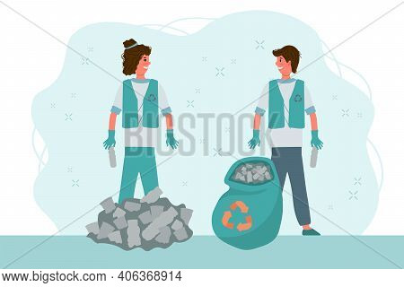 Recycling People Clean Up The Waste. Eco-illustration Sorting Waste, Save The Planet. Environmental