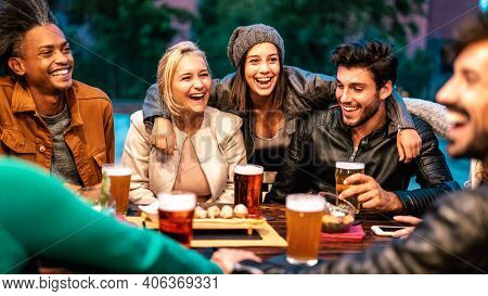 Happy Friends Drinking Beer At Brewery Bar Dehor - Friendship Lifestyle Concept With Young Milenial
