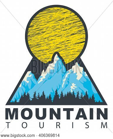 Vector Travel Banner Or Pennant In Retro Style With Snow Covered Mountains, Sun, Fir Trees And The W