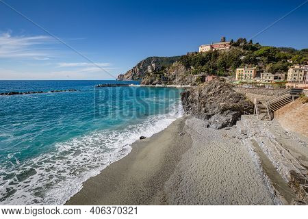 Beautiful Seascape . View Of Seascape In Monterosso Al Mare Village In Cinque Terre On The Italian R