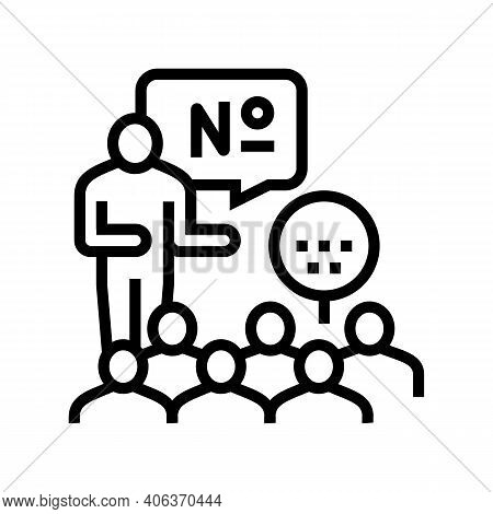 Players Playing In Lotto Line Icon Vector. Players Playing In Lotto Sign. Isolated Contour Symbol Bl
