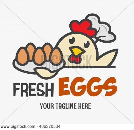 Fresh Chicken Eggs Logo. Funny Chicken Wearing A Chef's Hat Serves Eggs On A Tray. Design For Print,