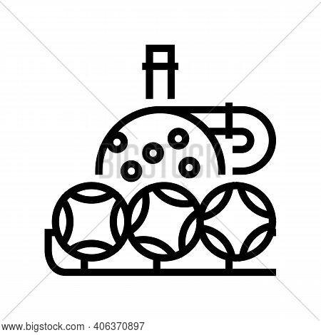 Wheel And Balls Lotto Line Icon Vector. Wheel And Balls Lotto Sign. Isolated Contour Symbol Black Il