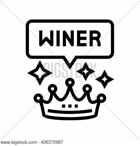Winner Crown Lotto Line Icon Vector. Winner Crown Lotto Sign. Isolated Contour Symbol Black Illustra