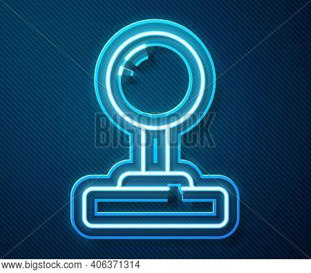 Glowing Neon Line Joystick For Arcade Machine Icon Isolated On Blue Background. Joystick Gamepad. Ve
