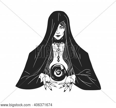 Witch Divining And Foretelling Future With Crystal Ball. Woman Practicing Witchcraft, Wizardry And D