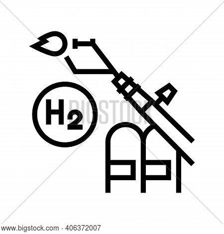 Use In Welding Hydrogen Line Icon Vector. Use In Welding Hydrogen Sign. Isolated Contour Symbol Blac