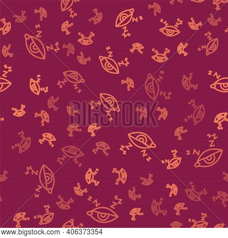Brown Line Insomnia Icon Isolated Seamless Pattern On Red Background. Sleep Disorder With Capillarie