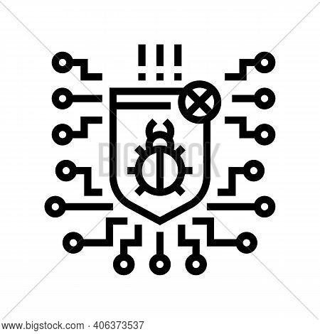 Computer Protection Program Anti-virus Line Icon Vector. Computer Protection Program Anti-virus Sign