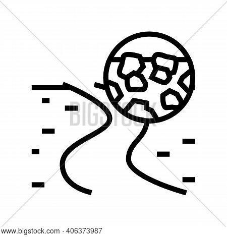 Gravel Road Line Icon Vector. Gravel Road Sign. Isolated Contour Symbol Black Illustration