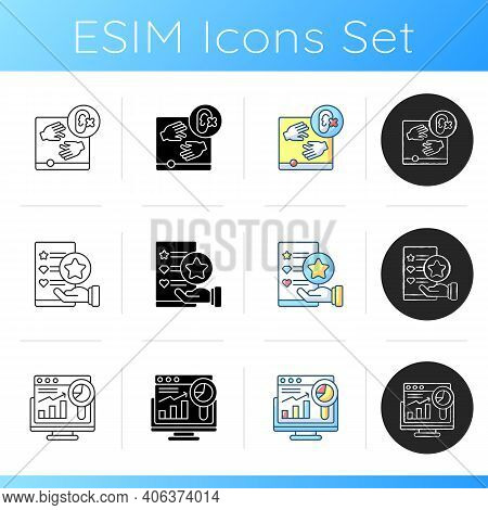 Website Optimization Icons Set. Site Accessibility. Usability Evaluation. Site Analytics And Statist