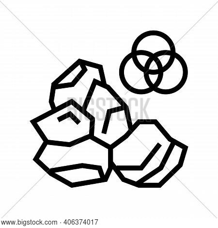 Mineral Stone Line Icon Vector. Mineral Stone Sign. Isolated Contour Symbol Black Illustration