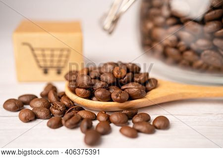 Box With Shopping Cart Logo Symbol On Coffee Beans, Import Export Shopping Online Or Ecommerce Deliv