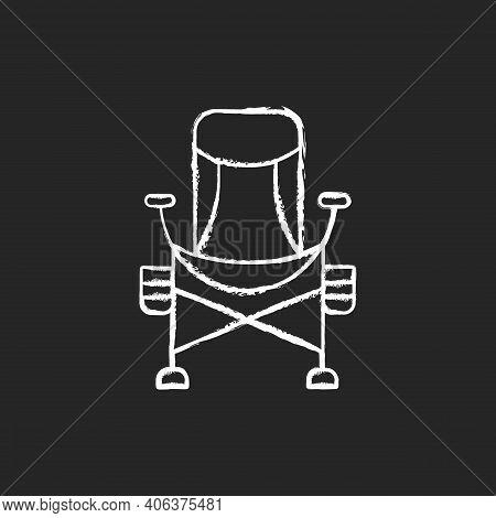 Fishing Lounger Chair Chalk White Icon On Black Background. Basic Fishers Equipment. Fishing Tournam