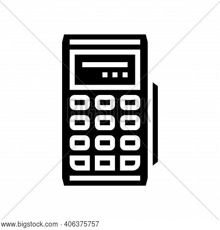 Modile Pos Terminal Gadget Glyph Icon Vector. Modile Pos Terminal Gadget Sign. Isolated Contour Symb