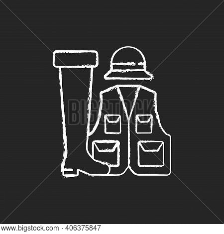Fishermans Clothing And Accessories Chalk White Icon On Black Background. Specail Wearing For Comfor